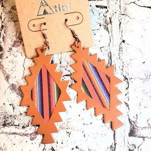 Jewelry - Serape saltillo real leather lightweight earrings